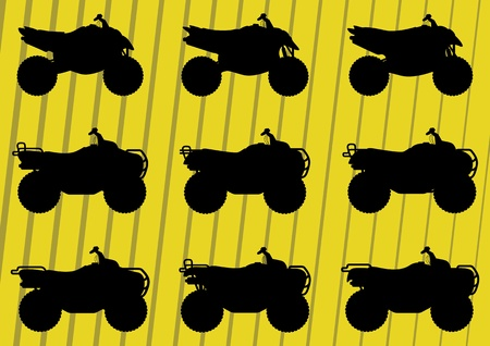 All terrain vehicle quad motorbikes riders illustration collection background vector Vector