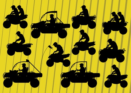 quad: All terrain vehicle quad motorbikes riders illustration collection background vector Illustration