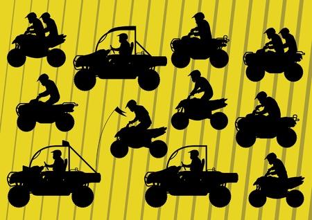 moto da cross: Tutto Fuoristrada quad moto riders illustrazione vettoriale raccolta sfondo