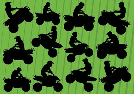 adrenaline: Alle terreinwagen quad motoren rijders illustratie inzameling achtergrond vector