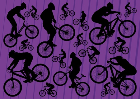 Mountain bike and trial riders bicycle silhouettes illustration collection background vector Vector