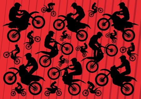 motocross riders: Motocross and trial motorbikes riders illustration collection background vector Illustration