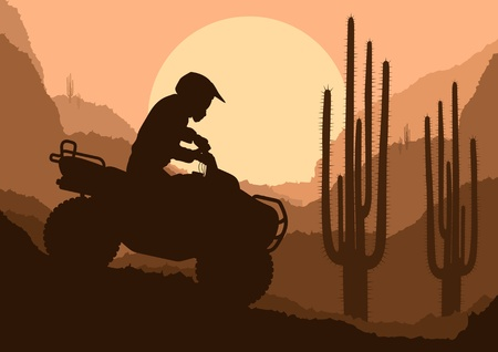 All terrain vehicle quad motorbike rider in desert wild nature landscape background illustration vector Vector