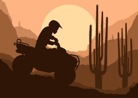 quad: All terrain vehicle quad motorbike rider in desert wild nature landscape background illustration vector