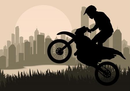adrenalina: Moto piloto en la ilustraci�n de rascacielos de la ciudad de fondo del paisaje
