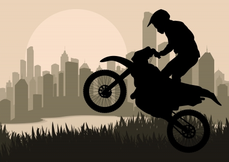 Motorbike rider in skyscraper city landscape background illustration Stock Vector - 12045347