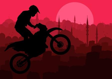 adrenalin: Motorbike rider in city landscape background illustration