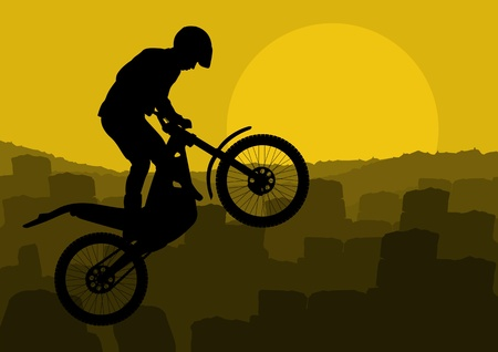 trail bike: Motorbike rider in city landscape background illustration