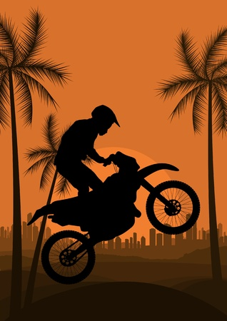 trail bike: Motorbike rider in skyscraper city landscape background illustration vector