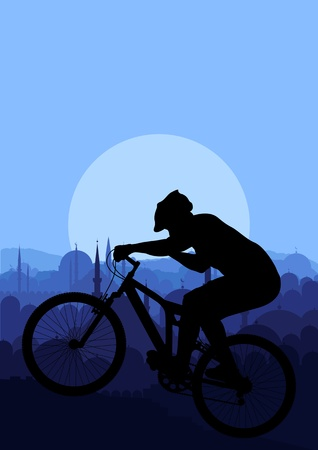 Mountain bike rider in Arabic city landscape background illustration vector Vector