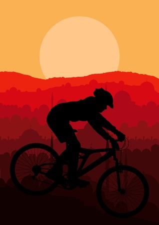 Mountain bike rider in Arabic city landscape background illustration vector Vector