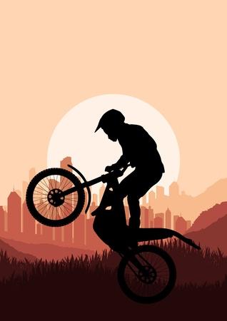 Moto rider dans la ville de gratte-ciel sur fond de paysage illustration