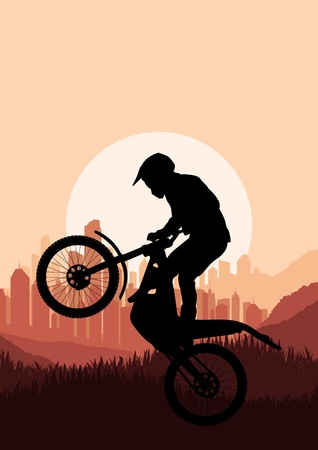 trail bike: Motorbike rider in skyscraper city landscape background illustration