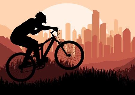 urban jungle: Monta�a ciclista en la ilustraci�n de rascacielos de la ciudad de fondo del paisaje Vectores
