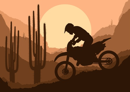 trail bike: Motorbike rider in wild nature landscape background illustration