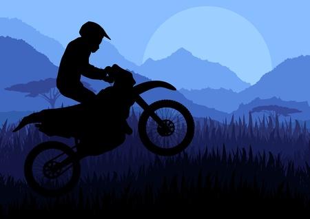motorcycle wheel: Motorbike rider in wild nature landscape background illustration
