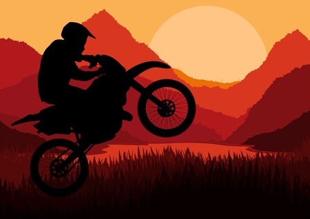 Motorbike rider in wild nature landscape background illustration Stock Vector - 12045299