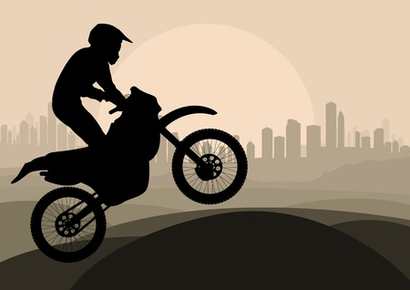 Motorbike rider in skyscraper city landscape background illustration vector Vector