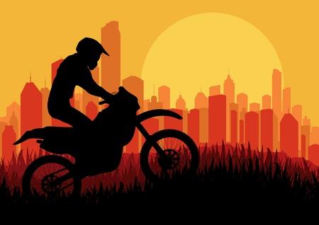 motorbike jumping: Motorbike rider in skyscraper city landscape background illustration vector