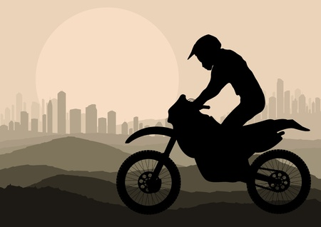 motorized sport: Motorbike rider in skyscraper city landscape background illustration vector