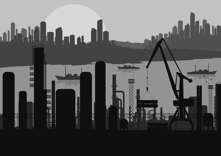 Industrial factory landscape skyline background illustration vector Stock Vector - 12045348