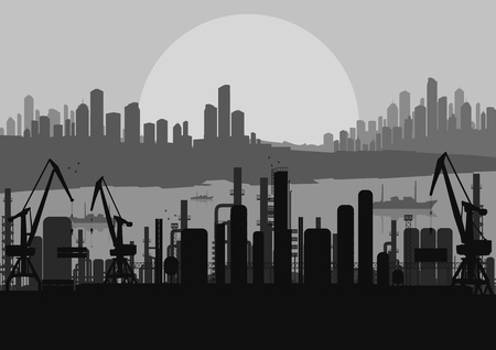 harbour: Industrial fabbrica vettoriale paesaggio skyline di sfondo illustrazione