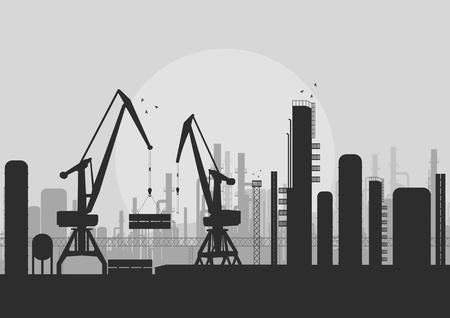 air port: Industrial factory landscape skyline background illustration vector Illustration