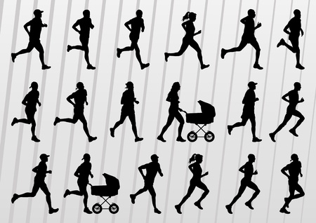 marathon runner: Marathon runners people silhouettes illustration vector collection Illustration