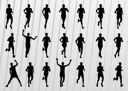 mujer deportista: Marat�n de corredores de la gente siluetas ilustraci�n vectorial colecci�n Vectores