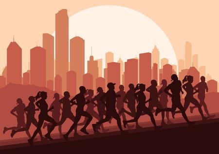 road runner: Los corredores de marat�n en la ciudad de rascacielos, ilustraci�n vectorial paisaje de fondo