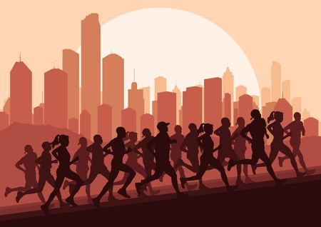 Marathon runners in skyscraper city landscape background illustration vector