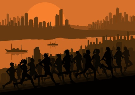 avenue: Marathon runners in skyscraper city landscape background illustration vector