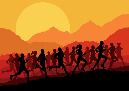 Marathon runners in wild nature mountain landscape background illustration vector Vector