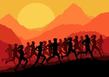 maratón: Maratónci ve volné přírodě horské krajiny na pozadí, ilustrace vektor