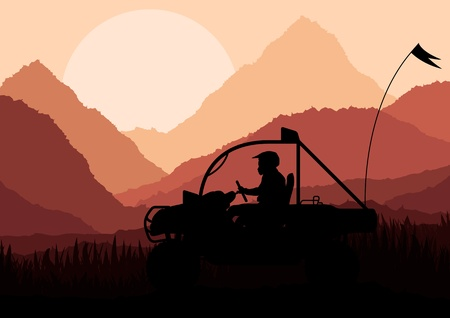 All terrain vehicle quad motorbike rider in wild nature landscape background illustration vector Vector