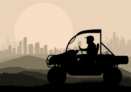 off road vehicle: All terrain vehicle motorbike rider in skyscraper city landscape background illustration vector