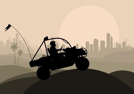 All terrain vehicle motorbike rider in skyscraper city landscape background illustration vector Vector