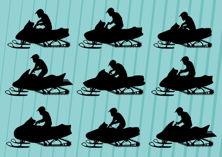 Snowmobile motorbike riders silhouettes illustration collection background vector Stock Vector - 12045372