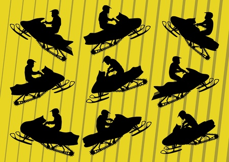 snowmobile: Snowmobile motorbike riders silhouettes illustration collection background vector Illustration