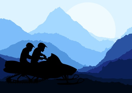 snowmobile: Snowmobile riders in wild nature landscape background illustration vector