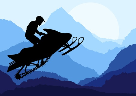 air jump: Snowmobile riders in wild nature landscape background illustration vector
