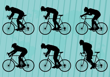 Sport road bike riders bicycle silhouettes illustration collection background vector Stock Vector - 12045279