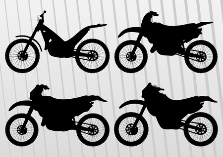 trail bike: Motocross motorcycle illustration collection background vector