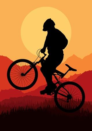 mountain biking: Mountain bike rider in wild nature landscape background illustration Illustration