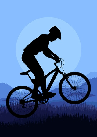 Mountain bike rider in wild nature landscape background illustration Vector