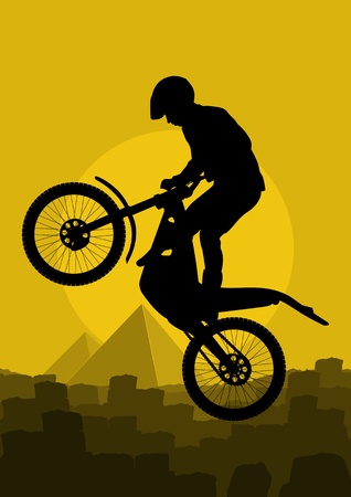 Mountain bike rider in wild Africa pyramid ruin landscape background illustration