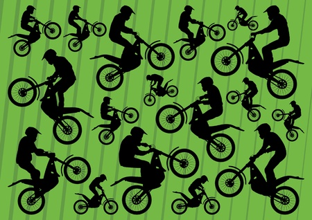 trail bike: Motocross and trial motorbikes riders illustration collection background vector Illustration