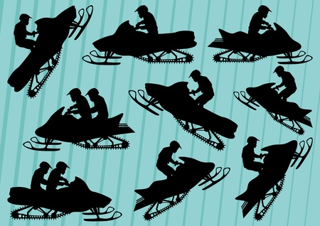 extreme terrain: Snowmobile motorbike riders silhouettes illustration collection background vector Illustration
