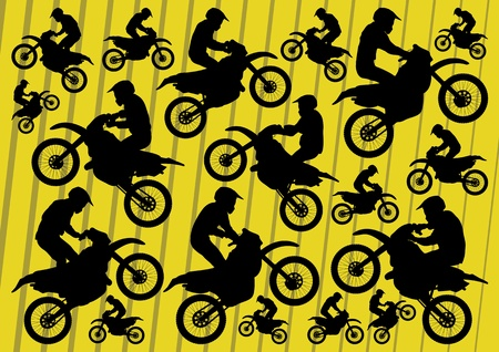 Motocross and trial motorbikes riders illustration collection background vector Vector