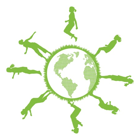 Green ecology planet concept with jumping kids Vector
